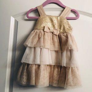 Toddler girls gold tiered dress